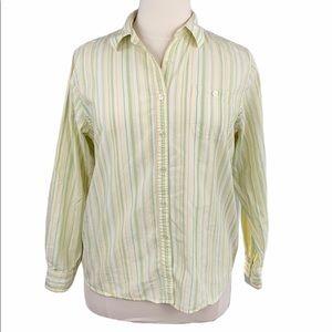 L.L. Bean Striped Long Sleeve Button Front Shirt